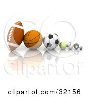 Clipart Illustration Of A Football Basketball Soccer Ball Tennis Ball Baseball Eight Ball And Golf Ball In A Row On A Reflective White Surface by KJ Pargeter