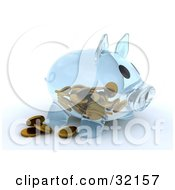 Clipart Illustration Of A Transparent Glass Piggy Bank With Coins On The Inside And Some Resting Outside by KJ Pargeter