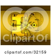 Clipart Illustration Of A 3d Gold Bank Safe Vault With Tiled Floors by KJ Pargeter