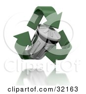 Clipart Illustration Of A Floating Tin Trash Can Surrounded By Green Recycle Arrows Hovering Over A Reflective Surface by KJ Pargeter