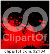 Clipart Illustration Of Red And Black Splatters And Dots On A Black Background