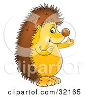 Clipart Illustration Of A Friendly Hedgehog Talking And Gesturing With His Hands by Alex Bannykh