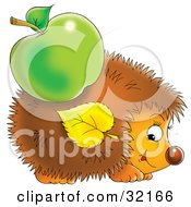Clipart Illustration Of A Cute Hedgehog With A Green Apple And Leaf Stuck On His Spikes by Alex Bannykh