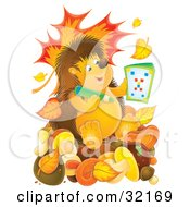Clipart Illustration Of A Smart Hedgehog Using An Activity Book And Sitting On Mushrooms With Falling Autumn Leaves And A Worm Emerging From A Mushroom by Alex Bannykh