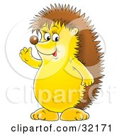 Clipart Illustration Of A Friendly Hedgehog Standing On Its Hind Legs And Waving by Alex Bannykh