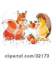 Clipart Illustration Of A Hedgehog Sharing Apples With A Friendly Squirrel