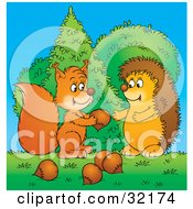 Clipart Illustration Of A Caring Squirrel Sharing Acorns With A Hedgehog