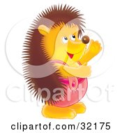 Clipart Illustration Of A Cute And Friendly Hedgehog In Pink Overalls Facing To The Right And Smiling by Alex Bannykh