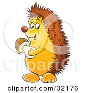 Clipart Illustration Of A Happy Hedgehog Holding A Mushroom by Alex Bannykh