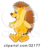 Clipart Illustration Of A Cute And Happy Hedgehog Walking Upright On Its Hind Legs Facing To The Left by Alex Bannykh