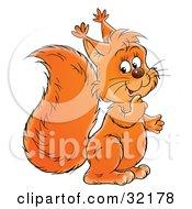 Clipart Illustration Of A Friendly Bushy Tailed Orange Squirrel by Alex Bannykh