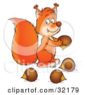 Clipart Illustration Of A Cute Squirrel Gathering Acorns For Winter