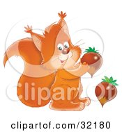 Clipart Illustration Of A Friendly Squirrel Smiling At The Viewer And Holding An Acorn