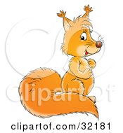 Clipart Illustration Of A Cute Squirrel With A Bushy Tail Rubbing Its Belly by Alex Bannykh