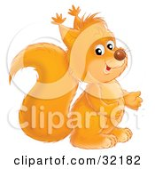 Clipart Illustration Of An Adorable Orange Squirrel Facing To The Right by Alex Bannykh