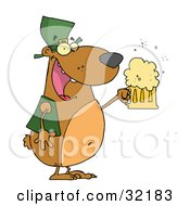 Happy And Intoxicated Bear In Green Drinking Beer On St Patricks Day