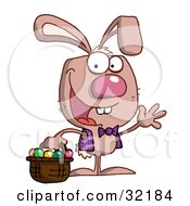 Spunky Bunny Wearing A Vest And Tie Waving And Carrying A Basket Of Easter Eggs