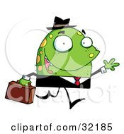 Jolly Monster In A Suit Waving While Walking Past And Carrying A Briefcase