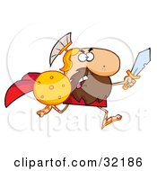 Clipart Illustration Of A Tough Spartan Warrior Running Forward With A Shield And Sword