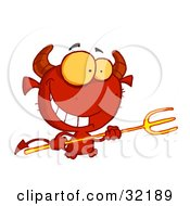 Grinning Yellow Eyed Red Devil With Horns Holding A Pitchfork
