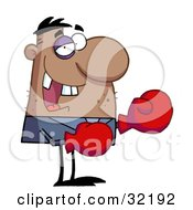 Clipart Illustration Of A Grinning Boxer With Missing Teeth And A Black Eye Wearing Red Boxing Gloves by Hit Toon