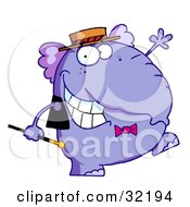 Clipart Illustration Of A Happy Purple Elephant In Show Biz Dancing A Jig While Entertaining by Hit Toon