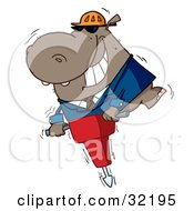 Clipart Illustration Of A Happy Hippo Worker Operating A Vibrating Jackhammer