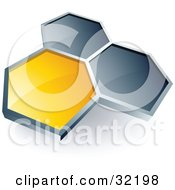 Clipart Illustration Of A Pre Made Logo Of One Yellow Honeycomb Connected To Two Others by beboy