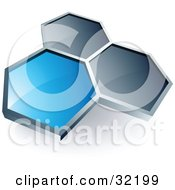 Clipart Illustration Of A Pre Made Logo Of One Blue Honeycomb Connected To Two Others by beboy