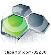 Clipart Illustration Of A Pre Made Logo Of One Green Honeycomb Connected To Two Others