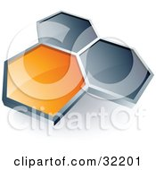 Clipart Illustration Of A Pre Made Logo Of One Orange Honeycomb Connected To Two Others