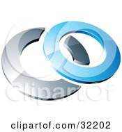 Clipart Illustration Of A Pre Made Logo Of A Blue Shiny 3d Ring Over A Chrome Circle by beboy