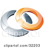 Clipart Illustration Of A Pre Made Logo Of A Orange Shiny 3d Ring Over An Chrome Circle by beboy