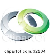 Clipart Illustration Of A Pre Made Logo Of A Green Shiny 3d Ring Over A Chrome Circle by beboy