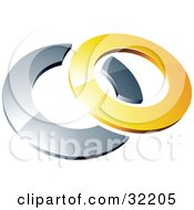 Clipart Illustration Of A Pre Made Logo Of A Yellow Shiny 3d Ring Over A Chrome Circle