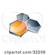 Group Of Three Hexagons Connected Like A Honeycomb One Orange Two Dark Blue On A White Background
