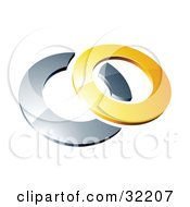 Reflective Yellow 3d Ring Resting On A Chrome Ring On A White Background