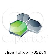 Clipart Illustration Of A Group Of Three Hexagons Connected Like A Honeycomb One Green Two Dark Blue On A White Background by beboy