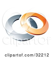 Reflective Orange 3d Ring Resting On A Chrome Ring On A White Background