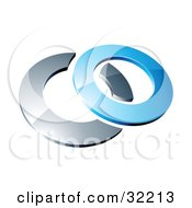 Clipart Illustration Of A Reflective Blue 3d Ring Resting On A Chrome Ring On A White Background by beboy