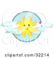 Friendly Yellow Sun Shining In Front Of Clouds With Stars In A Sky