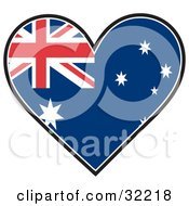 Clipart Illustration Of A Heart Shaped Australian Flag With Union Flag Commonwealth Star And The Southern Cross Constellation On A White Background by Maria Bell