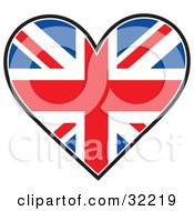 Clipart Illustration Of A Heart Shaped Union Jack Flag On A White Background by Maria Bell #COLLC32219-0034
