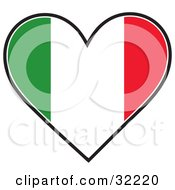 Clipart Illustration Of A Heart Shaped Green White And Red Tricolor Italian Flag On A White Background by Maria Bell