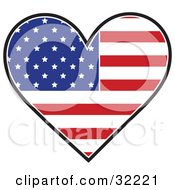 Clipart Illustration Of A Heart Shaped American Flag With The Red White And Blue Stars And Shapes On A White Background