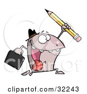 Clipart Illustration Of An Energetic Monster Wearing A Hat Carrying A Briefcase And Running With A Pencil On A White Background by Hit Toon
