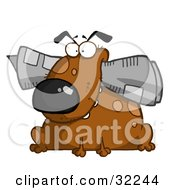 Clipart Illustration Of A Chubby Brown Dog Sitting With A Newspaper In His Mouth On A White Background