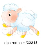 Clipart Illustration Of An Energetic White Lamb Running