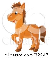 Clipart Illustration Of A Happy Brown Pony Prancing To The Left