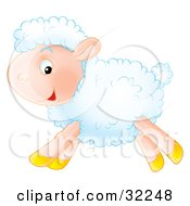 Clipart Illustration Of A Happy White Lamb With Fluffy Wool Running By In Profile